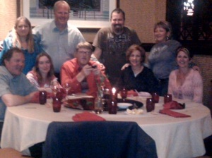 This is the group of us at Dinner.  It was taken on a Verizon Storm.  Not such good picture quality!
